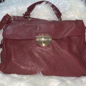 Italian Leather Cromia Burgundy Satchel Handbag